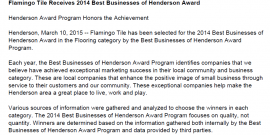 Flamingo Tile Receives 2014 Best Tile Businesses of Henderson Award
