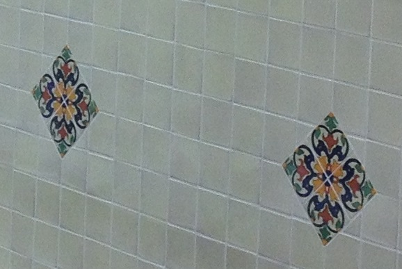 Tiled wall using a design