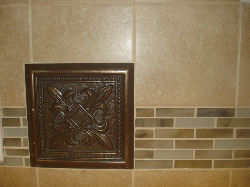 Kitchen Medallion with Glass Tile